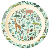 Rice - Melamine kids bord - green animal print