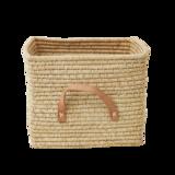 Rice Raffia Mand - leren handvat - Naturel_