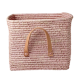 Rice Raffia Mand - leren handvat - Soft Pink_