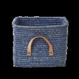 Rice Raffia Mand - leren handvat - blauw_
