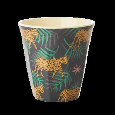 Rice - Melamine Beker met luipaard en blaadjes - Medium