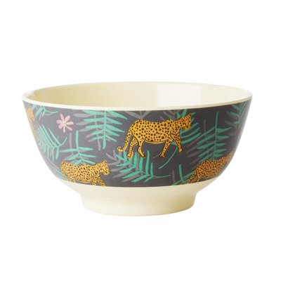Rice - Melamine kom - met luipaard en blaadjes print - Medium