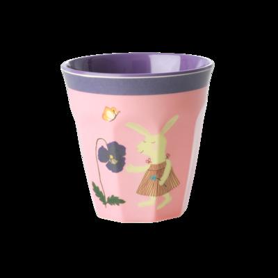 Rice - Kleine melamine kinderbeker - roze konijnenprint