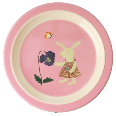 Rice - Melamine Kids Plate - Pink Bunny Print