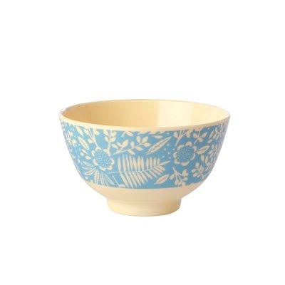 Rice - Small Melamine Bowl - Blue Fern and Flower Print