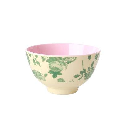 Rice - Small Melamine Bowl - Green Rose Print