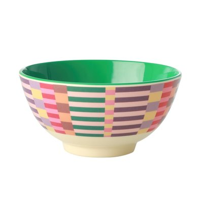 Rice - Medium melamine kom - Zomers strepenprint
