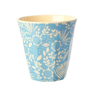 Rice - Medium melamine beker - Blauwe varen en bloemenprint