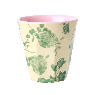 Rice - Medium melamine beker - Groene rozenprint
