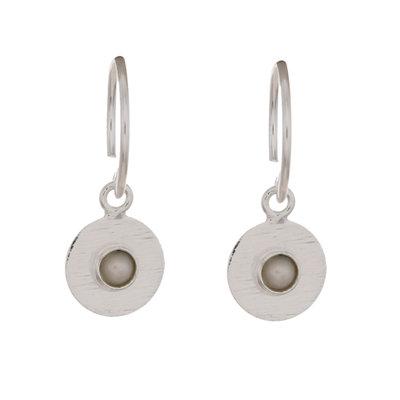 Muja Juma - Oorbel - zilver rondje met parel