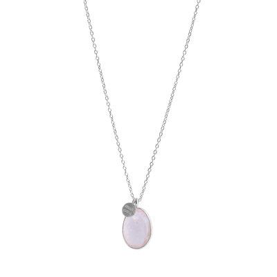 Muja Juma - ketting - Zilver met rozenkwarts hanger