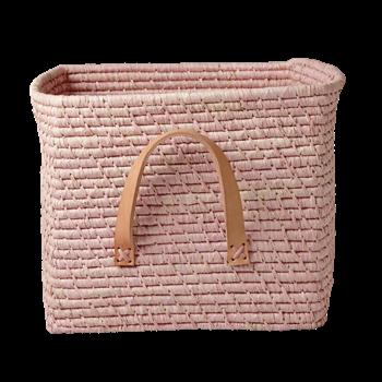 Rice Raffia Mand met leren handvaten - Soft Pink