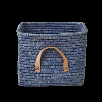 Rice Raffia Mand met leren handvaten - blauw