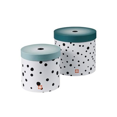 Done by Deer - ronde dozen - set van 2 - Happy dots - blauw