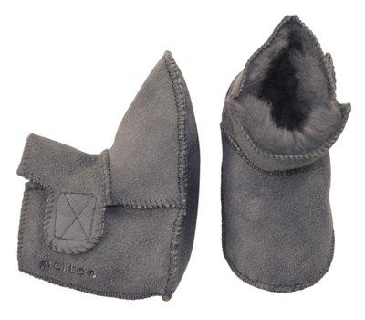 Melton suede schoen met lamswol voering - grijs