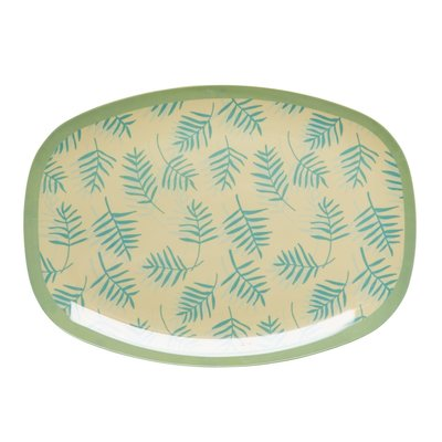 Rice - langwerpig bord / Schaal - Leaves print