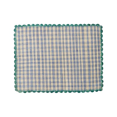 Rice - raffia placemat - blauw/naturel geruit