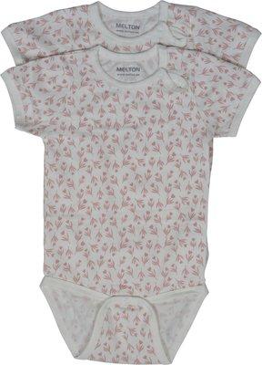 Melton romper wit met roze tulp patroon(korte mouw) set van 2