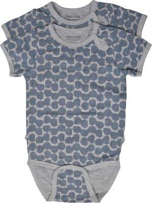 Melton romper grijs met donkerblauw patroon(korte mouw) set van 2