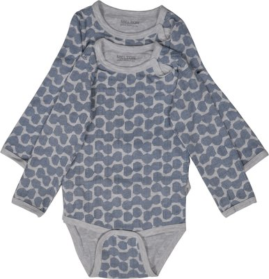 Melton romper grijs met donkerblauw patroon(lange mouw) set van 2