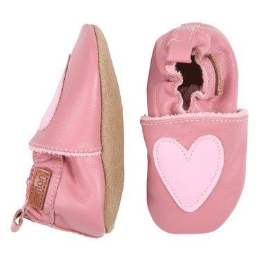 Melton babyschoen roze hart
