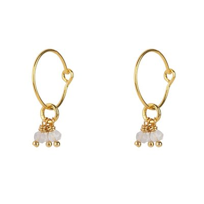 Jules Bean - earring - with chalcedoon stones - goldplated