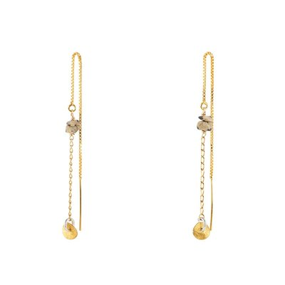 Jules Bean - pull-through earring - with dalmatier jaspis - goldplated