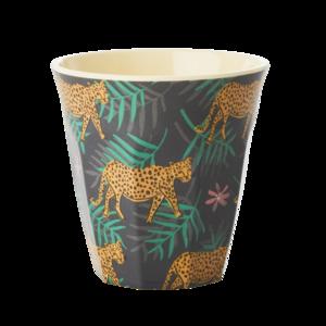 Rice melamine beker luipaard en blaadjes