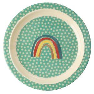 Rice Melamine Kids Plate Rainbow and Stars Print