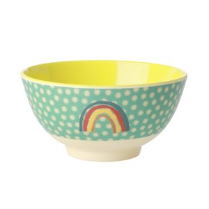 Rice Medium Melamine Bowl Rainbow and Stars Print