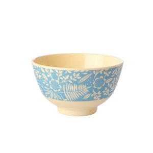 Rice Small Melamine Bowl Blue Fern and Flower Print