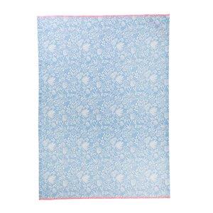 Rice Cotton Tea Towel Blue Fern and Flower Print