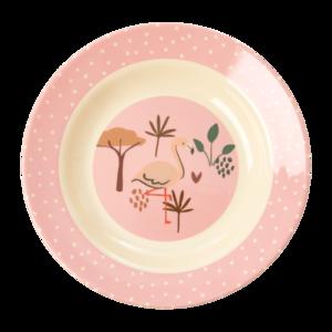 Rice - Melamine kids diep bord - pink jungle print
