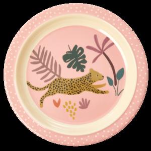 Rice - Melamine kids bord - pink jungle print