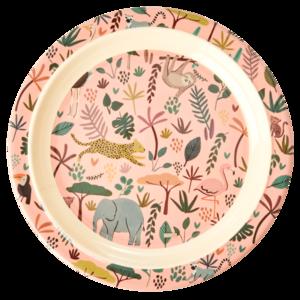 Rice - Melamine kids bord - pink animal print