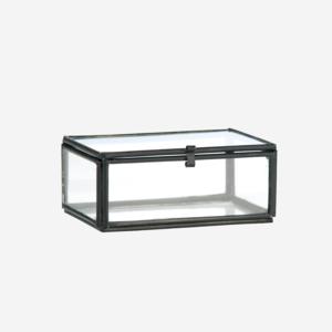 Madame Stoltz - glazen opbergbox - zwart S