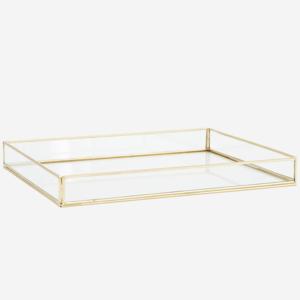 Madame Stoltz - glazen opbergbox - brass L