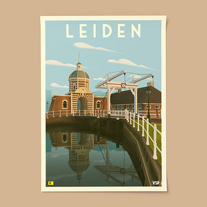 Vintage stadsposter A3 - Leiden - Morspoort