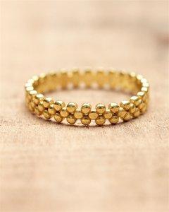 Muja Juma - Ring - goldplated flat dots - size 56
