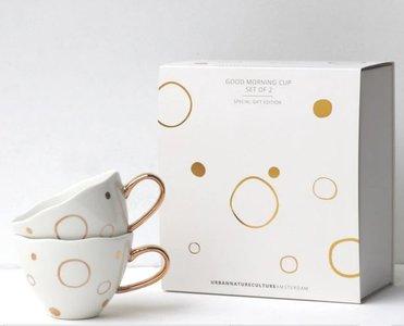 UNC - Mok - Good Morning - Gouden cirkels set van 2