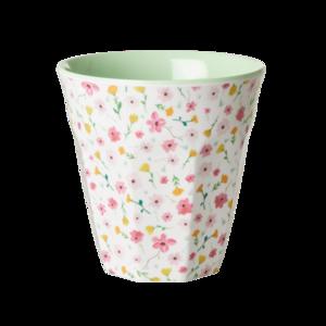RICE - Melamine Cup- Kleine bloemetjes - wit