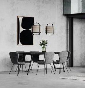 MIEN - hanging lamp - bamboo / linen - DIA 29,5 x H 39,5 cm - zwart