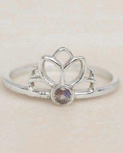 Muja-Juma - Ring - zilver - lotus - labradoriet - maat 56