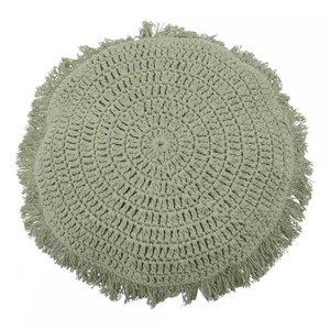 Goround - rond kussen - crochet - grijsgroen
