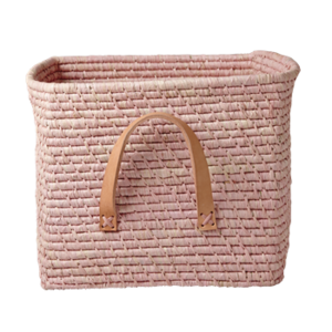 Rice Raffia Mand - leren handvat - Soft Pink