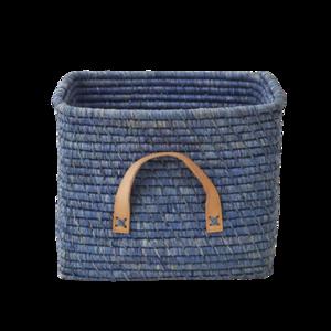 Rice Raffia Mand - leren handvat - blauw