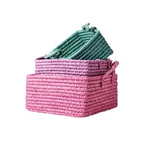 Rice - Square basket large - Hard pink