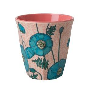 Rice Blue poppy melamine cup